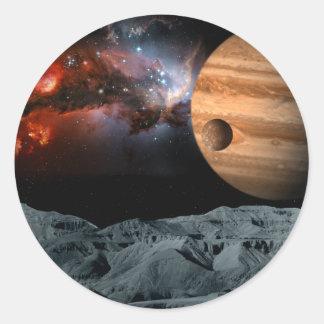Mármol celestial pegatina redonda