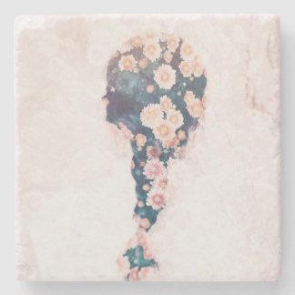 Mármol de la casilla blanca del rosa en colores posavasos de piedra