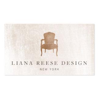 Mármol de marfil cepillado silla francesa de tarjetas de visita