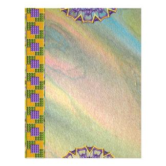 Mármol del arco iris de la mandala papel con memb plantillas de membrete