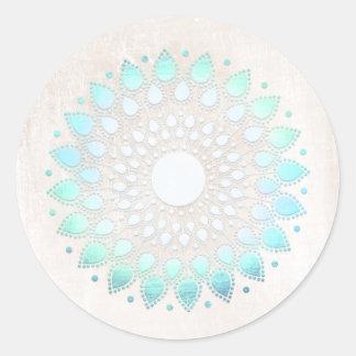 Mármol floral del blanco de Lotus de la turquesa Pegatina Redonda