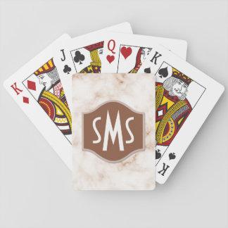 Mármol fotorrealista de la moca con monograma cartas de juego