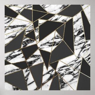 Mármol moderno elegante del oro y geométrico negro póster