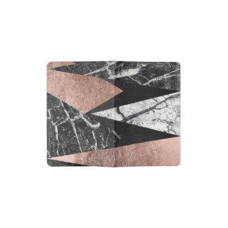 Mármol moderno elegante, oro color de rosa, y libreta de bolsillo moleskine