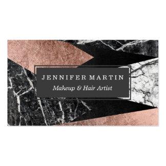 Mármol moderno elegante, oro color de rosa, y tarjetas de visita