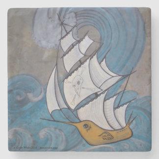 Mármol náutico del arte del pájaro del barco posavasos de piedra