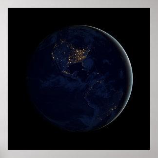 Mármol negro - Américas en la noche Póster