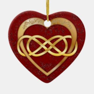 Mármol rojo del infinito del corazón doble del oro ornamento para arbol de navidad