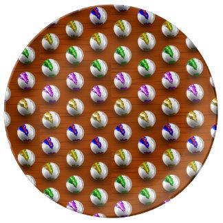Mármoles en el modelo de madera platos de cerámica