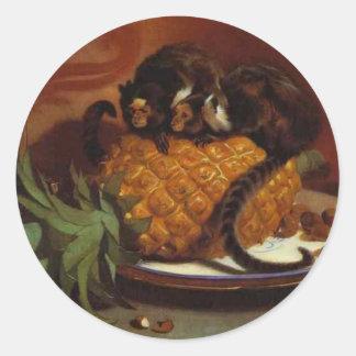 Marmosets brasileños de Edwin Henry Landseer Pegatina Redonda
