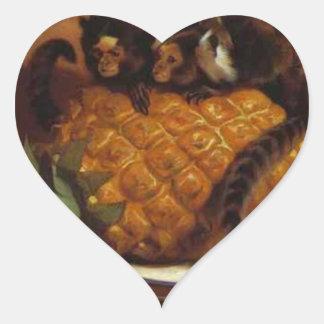 Marmosets brasileños de Edwin Henry Landseer Pegatina En Forma De Corazón