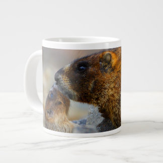 marmot and baby large coffee mug