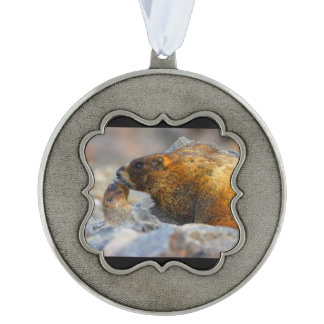 marmot and baby pewter ornament