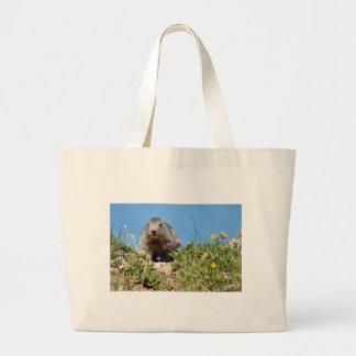 Marmota alpina joven bolsa de tela grande