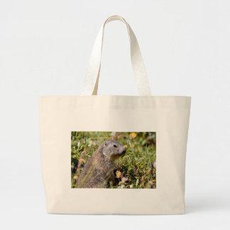 Marmota alpina joven en hierba bolsa de tela grande