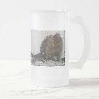 Marmota del invierno taza de cristal