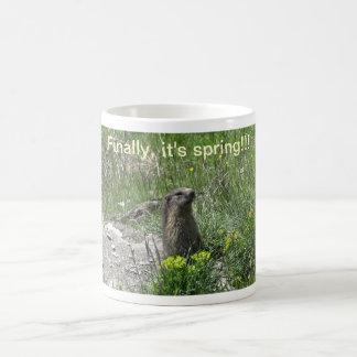 marmota primavera flores animales taza clásica