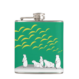 Marmots look at flying birds hip flask