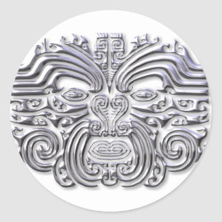Maroi tattoo-silver classic round sticker