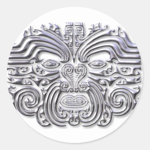 Maroi tattoo-silver round stickers