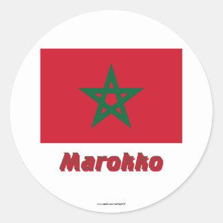 Marokko Flagge mit Namen Classic Round Sticker