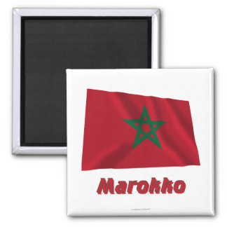 Marokko Fliegende Flagge mit Namen 2 Inch Square Magnet