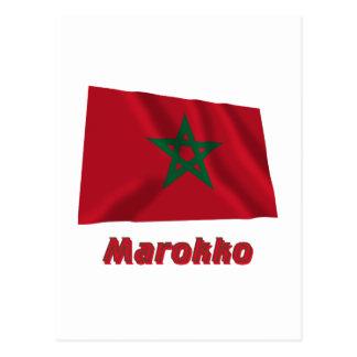 Marokko Fliegende Flagge mit Namen Postcard