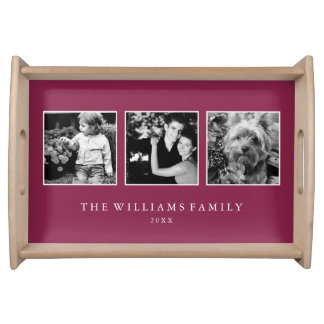 Maroon 3-Photo Family Collage Personalized Serving Tray