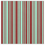 [ Thumbnail: Maroon and Aquamarine Stripes/Lines Pattern Fabric ]