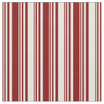 [ Thumbnail: Maroon and Beige Colored Lined/Striped Pattern Fabric ]
