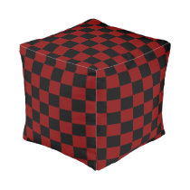 Maroon and Black Checked Pouf