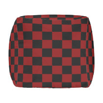 Maroon and Black Checkered Outdoor Pouf