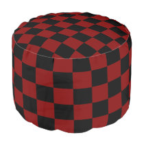 Maroon and Black Checkered Pouf