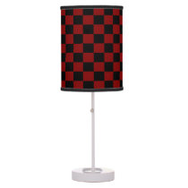 Maroon and Black Checkered Shaded Lamp
