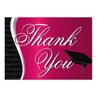 Maroon and Black Graduation Thank You Card