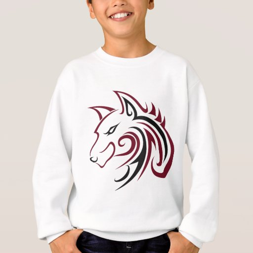 Maroon and Black Wolf Head Outline Sweatshirt