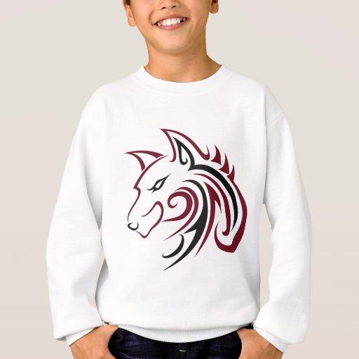 Maroon and Black Wolf Head Outline Sweatshirt