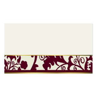 Maroon and Cream damask place cards Business Card Templates
