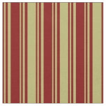 [ Thumbnail: Maroon and Dark Khaki Lines Pattern Fabric ]