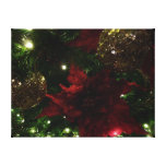 Maroon and Gold Christmas Tree Holiday Photo Canvas Print