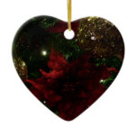 Maroon and Gold Christmas Tree Holiday Photo Ceramic Ornament