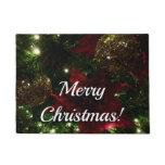 Maroon and Gold Christmas Tree Holiday Photo Doormat