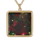 Maroon and Gold Christmas Tree Holiday Photo Gold Plated Necklace