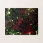 Maroon and Gold Christmas Tree Holiday Photo Jigsaw Puzzle