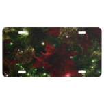 Maroon and Gold Christmas Tree Holiday Photo License Plate