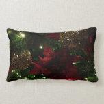 Maroon and Gold Christmas Tree Holiday Photo Lumbar Pillow