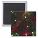 Maroon and Gold Christmas Tree Holiday Photo Magnet