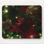 Maroon and Gold Christmas Tree Holiday Photo Mouse Pad