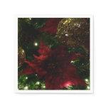 Maroon and Gold Christmas Tree Holiday Photo Paper Napkin