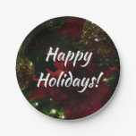 Maroon and Gold Christmas Tree Holiday Photo Paper Plate